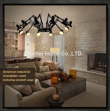 Retractable Pendant Lights Industrial lamps Spider Lamp Modern Pendant Light Brief Iiron Retractable spider art deco lamps(China (Mainland))