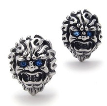 Fashion 316L Stainless Steel Blue Eye Lion Head Stud Earring for Men Free Shipping(China (Mainland))