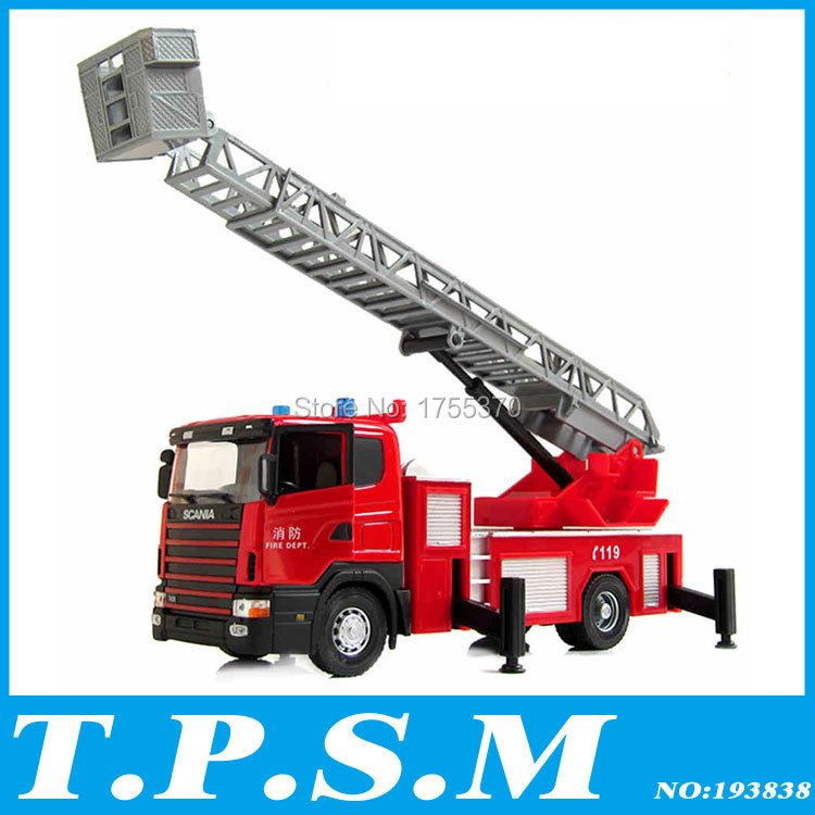 2015 Free shipping Luxurious Exquisite Truck Fire Truck Alloy Car Model Scaling ladder Vehicle As Gift For Boy(China (Mainland))