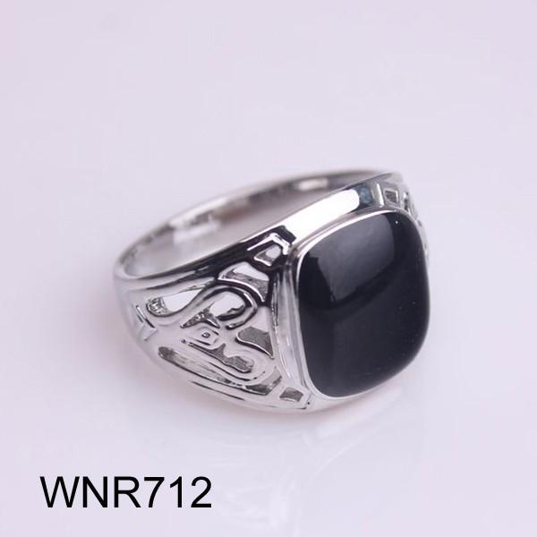 Silver Turkish Platinum: Stunning Turkish Mens Black Onyx Stone Ring 18K White Gold