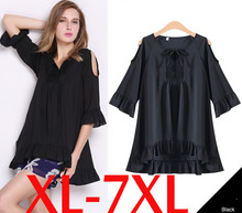 2015 fashion plus size clothing V-neck cutout loose flare sleeve top fifth sleeve top
