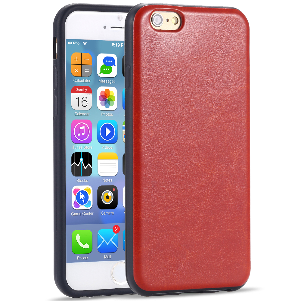 Top Quality Slim Hybrid Back Leather Cover For Iphone 6 Luxury Dual Plastic Soft Case Anti-shock Book Cell Phone Pouch 6 Colors(China (Mainland))