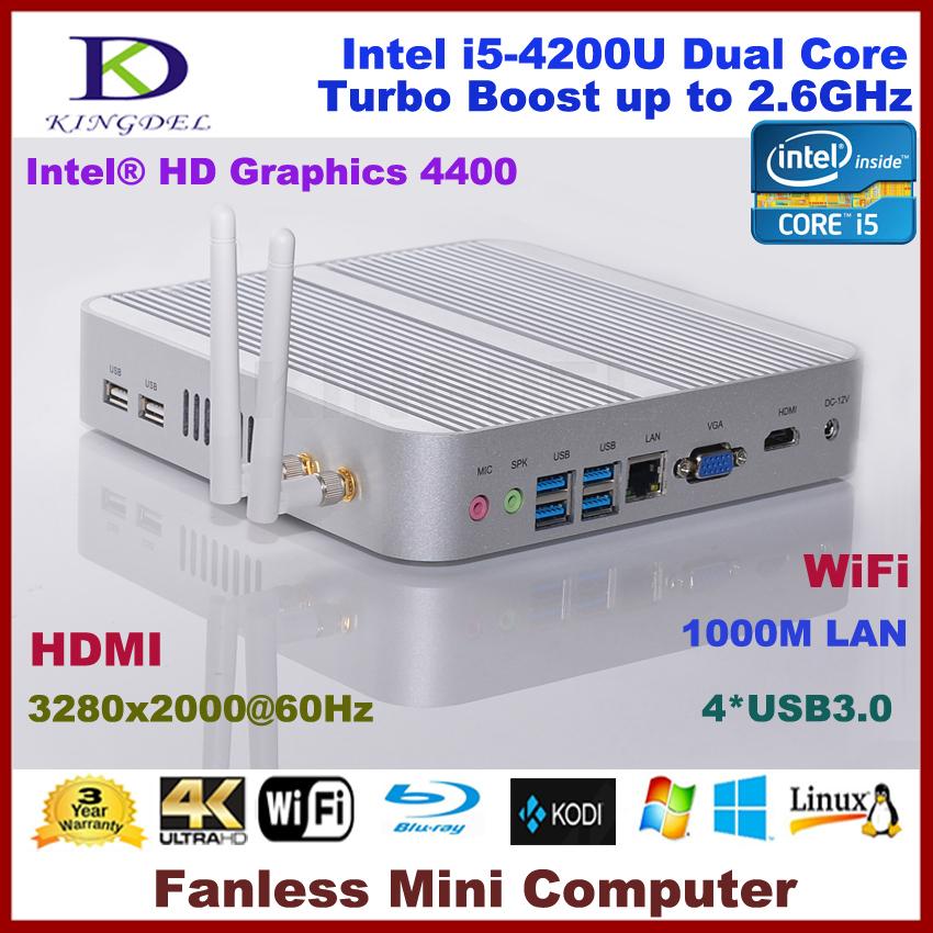 8GB RAM+32GB SSD+1T HDD Aluminum fanless i5 4200u mini pc desktop computer,Intel HD 4400 Graphics,4*USB 3.0, HDMI,4K HD HTPC(China (Mainland))