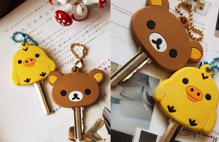 50PCS Rubber KEY Cap Cover Chain Holder ; Rubber Key Pendant Hook Key Cap Case Holder San-X Sentimental Circus + Rilakkuma Bear(China (Mainland))
