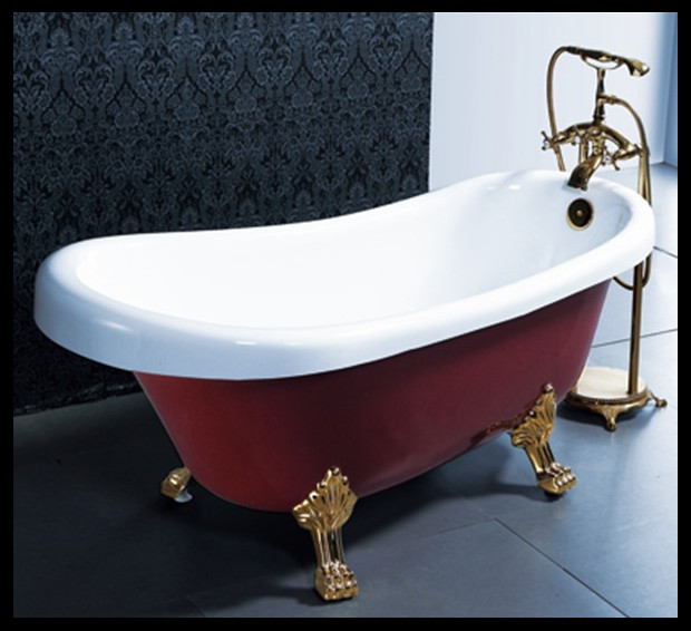 1 7 Meter Hot Sale Red Color Acrylic Clawfoot Bathtub Free Standing Bathtub C