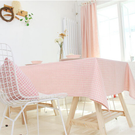 Korean style linen rectangle square round pink tablecloth plaid table cover fabric sweet table flag for wedding party(China (Mainland))
