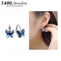 2014 trendy jewelry T400 made with swarovski elements pendientes butterfly shape earrings for women 2377 free