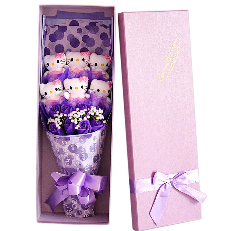 Christmas 6 pcs cartoon cat toy + 8 pcs soap flower + box Artificial Flower Valentine Birthday Gift(China (Mainland))
