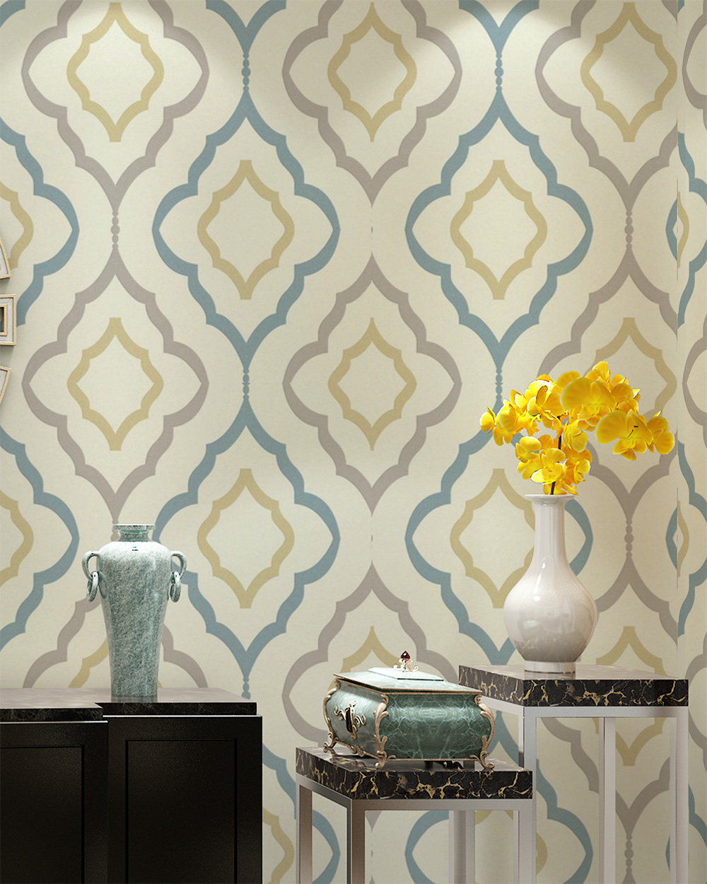 Haokhome vintage wallpaper geometric trippy wallpaper for Grey and cream wallpaper
