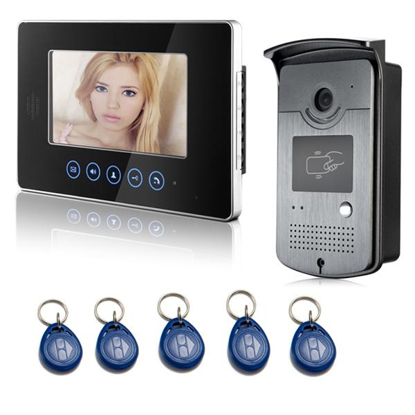 "Hot New 7"" touch monitor apartment building video intercom system Door Phone With RFID Keyfob Reader Doorbell Camera(China (Mainland))"