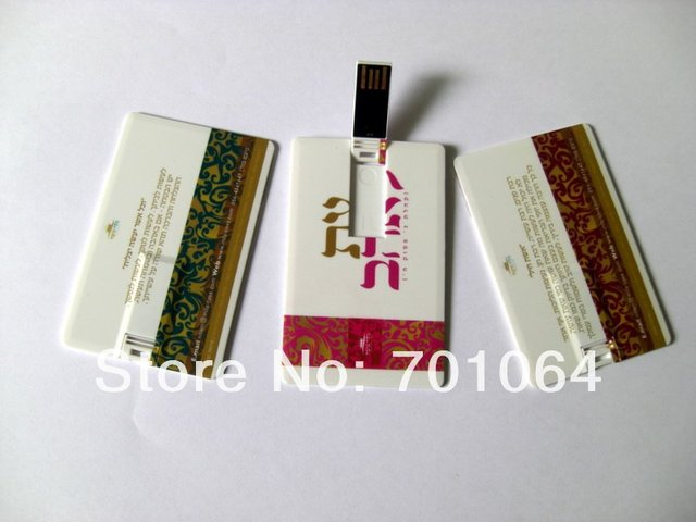 Free shipping: 100pcs/lot  credit Card USB flash drive, full color printing