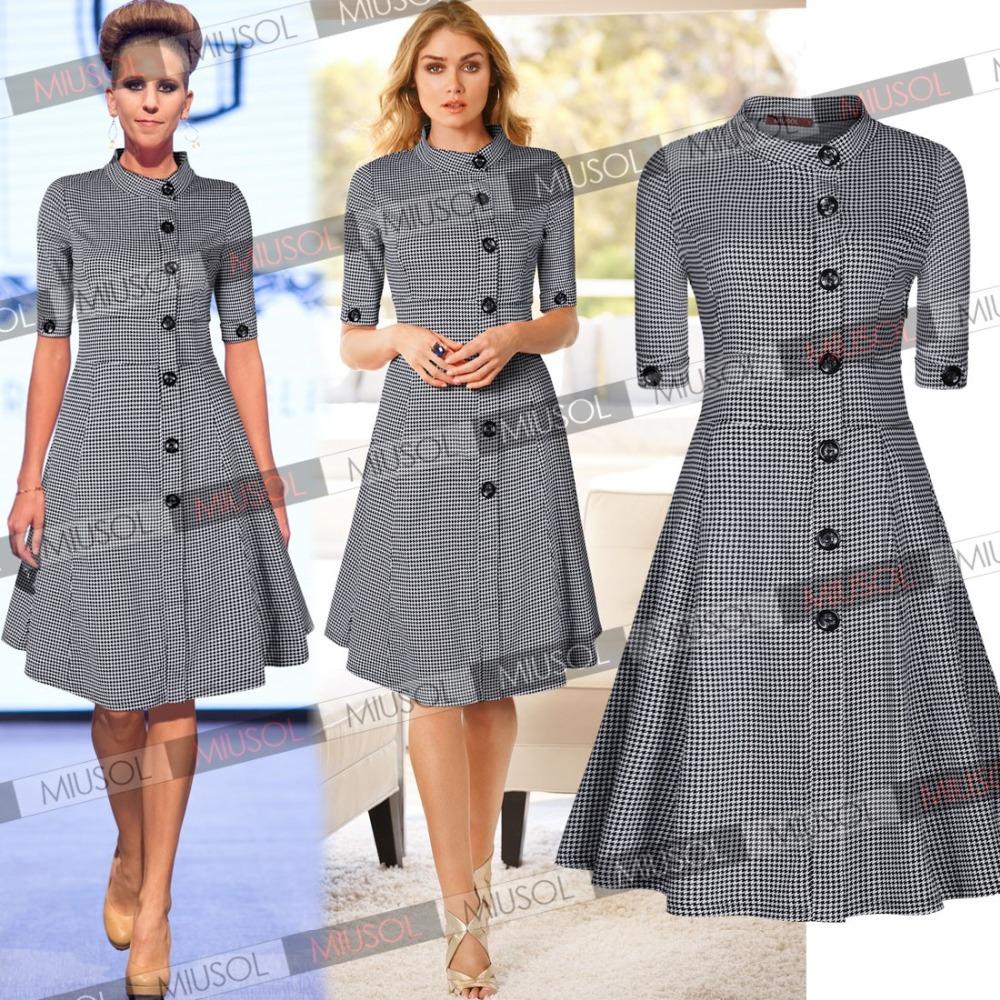 Wholesale 2015 Summer Vintage Classic 1950's Vintage Style Audrey Gingham Checks Shirtwaist Rockabilly Dresses Size SM-XXL 3170(China (Mainland))