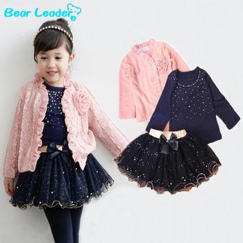 Bear Leader 2015 New autumn girls sets 3 pieces suit girls flower coat + blue T shirt + tutu skirt girls clothes