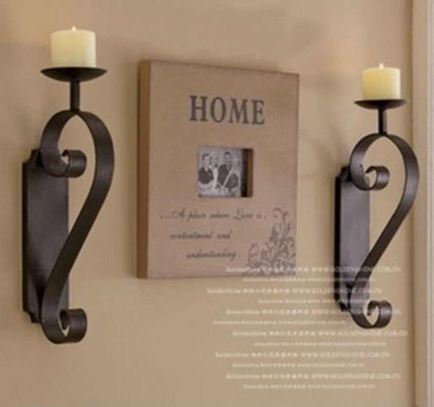 2pcs/pack European style wrought iron Candle Holder shelf Classic design Metal Candlesticks flat iron home accent(China (Mainland))