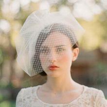 Mode pur Hand Made Beige deux couches voile couvrant le visage de mariée soirée de mariage magnifique femmes chapeaux livraison gratuite FW71(China (Mainland))