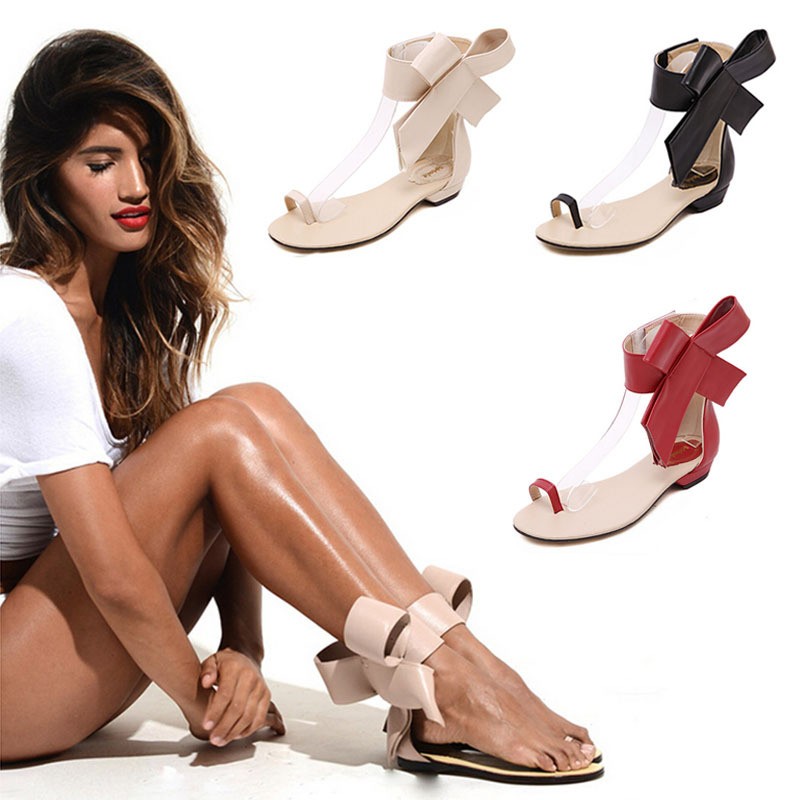 Women Sandals 2015 Shoes Woman Summer Style sandalias Big Bow New Gladiator Fashion Women's Flat Sandals Bowtie Black Red Apriot(China (Mainland))