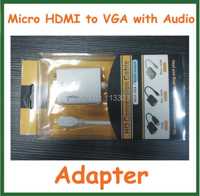 10pcs Adapter Micro HDMI to VGA with Audio Cable Output Micro HDMI Male to VGA Female Converter 1080P Connector(China (Mainland))