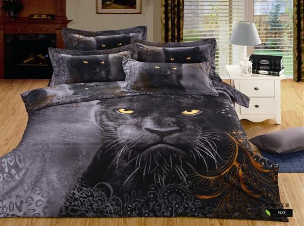 3D Black Lion print bedding set for queen size bedspread sheets duvet quilt cover bed in a bag bedroom linen animal 100% cotton(China (Mainland))