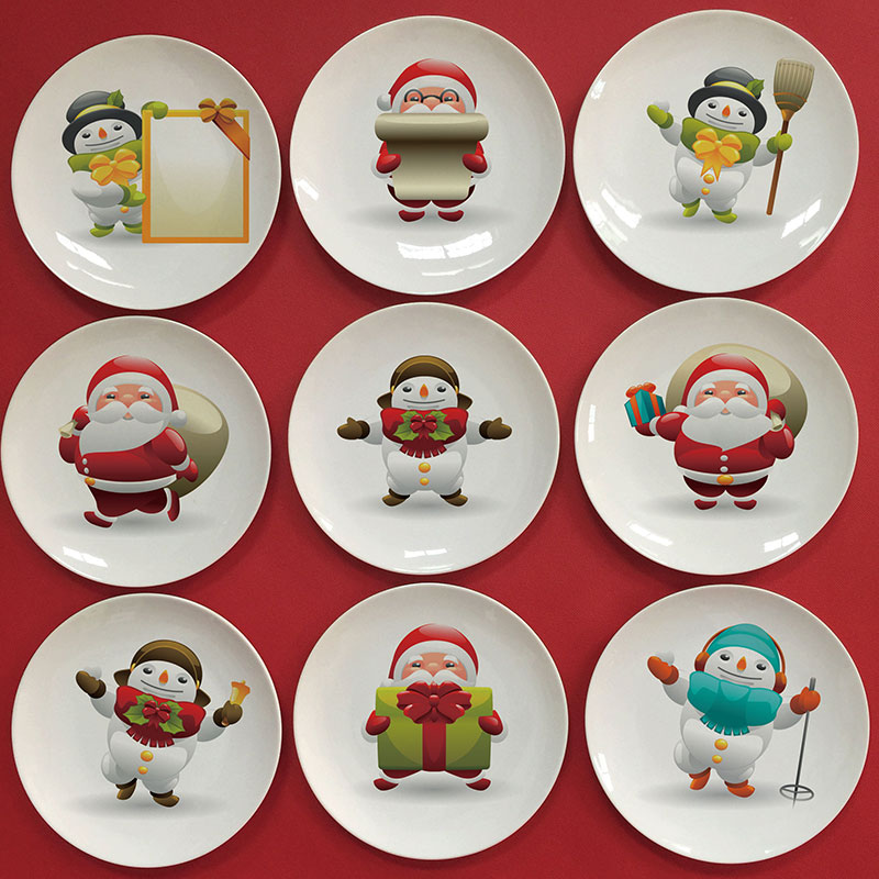 wholesale 2016 santa claus image decorative plate decorative christmas plates