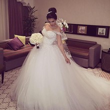 New Elegant Princess Wedding Dresses 2016 V-neck Ball Gown Lace Up Back Beads Tulle Chapel Train Bridal Gowns Vestido de noiva(China (Mainland))