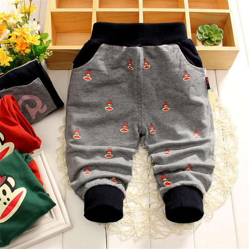 Spring and Autumn Boys kids monkey trousers Children straight denim Knitting pants baby cotton Pants jeans 0-4Y(China (Mainland))