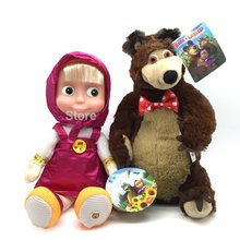 Russian Language Masha And Bear  Electronic Pets Talking Musical Dolls Masha e Orso Stuffed Plush Toys Baby Doll Gift For Kids(China (Mainland))