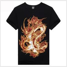 100% Cotton Good Quality,2015 Men's Casual Short Sleeves 3D T-shirt,dragon Printing,Free Shipping,Drop Shipping
