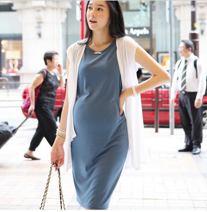 Hot Selling Maternity Clothes For Summer Causal Plus size Cotton Mid-Length Dresses Pregnant Women Gravida Korea Two-Piece #503(China (Mainland))