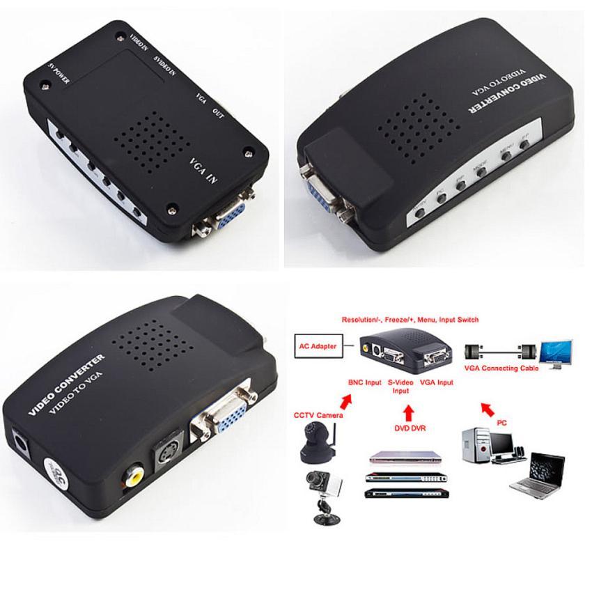 PC Laptop Composite AV/S Video To VGA TV Converter Monitor Adapter Box(China (Mainland))
