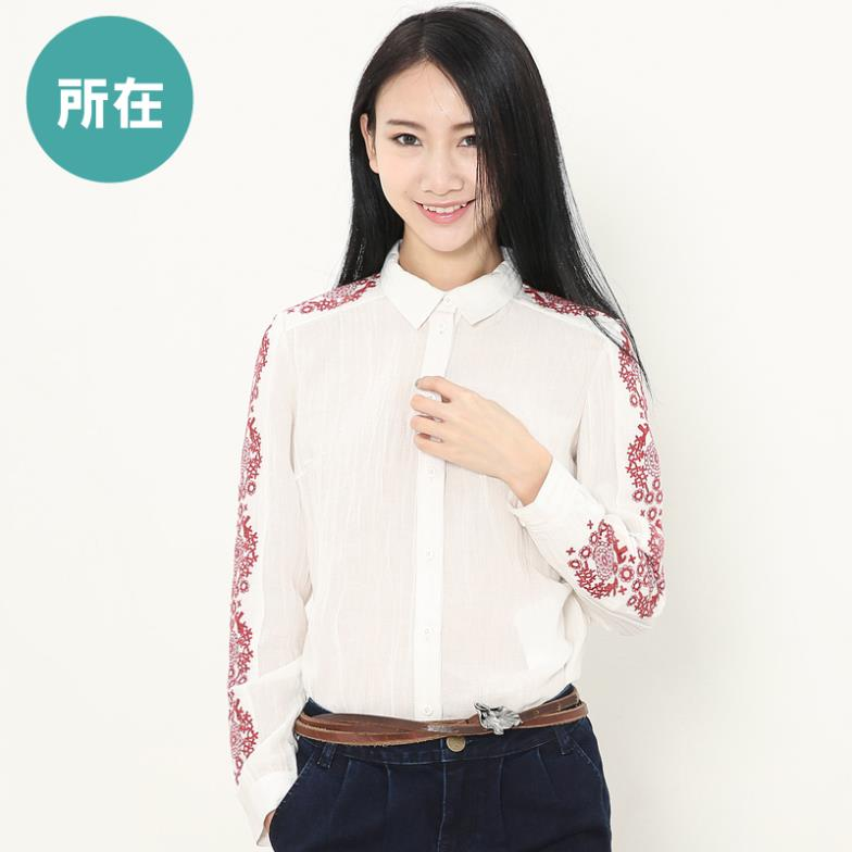 Authentic-fall 2015 Pack new slim lapels embroidered long sleeve shirt women white shirt 9314003CОдежда и ак�е��уары<br><br><br>Aliexpress