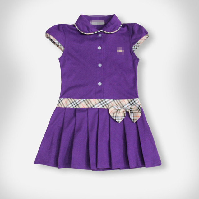 10 colors aged 7 - 14 classic brand knight embroidery logo plaid dress children kids dress baby girl summer clothing