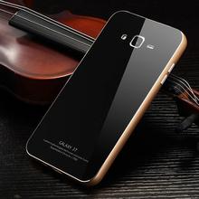 Чехол бампер для Samsung Galaxy J7 J7000 J7008 из алюминия и закалённого стекла