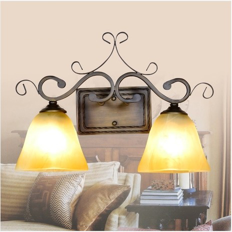 Antique Bedroom Wall Lamps : American Continental light wall sconce lamp antique wrought iron lamps living room bedroom wall ...