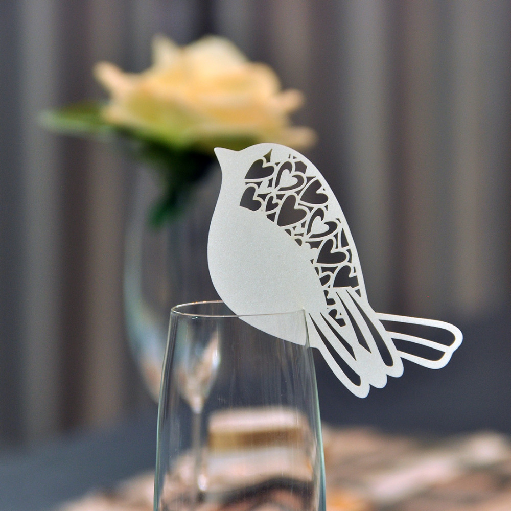 60pcs set for White Bird Shaped Table Mark Wine Glass Name Place Cards Wedding Decoration Party