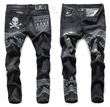 Free Shipping New 2014 Fashion Dark Color Mastermind Japan Plus Size Ripped Skull Embroidery Distrressed Jeans(China (Mainland))