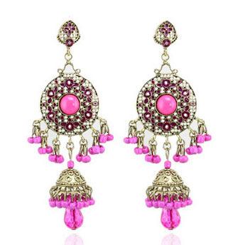 2015 Tibetan Ethnic vintage drop earrings  Bohemian exaggerated resin beaded tassel chandelier earrings India statement earrings