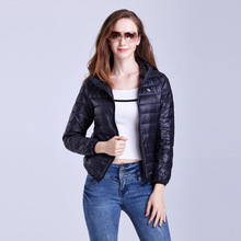 Women winter ultra light hooded duck down jackets women slim thin long sleeve parka zipper coats pockets solid family look