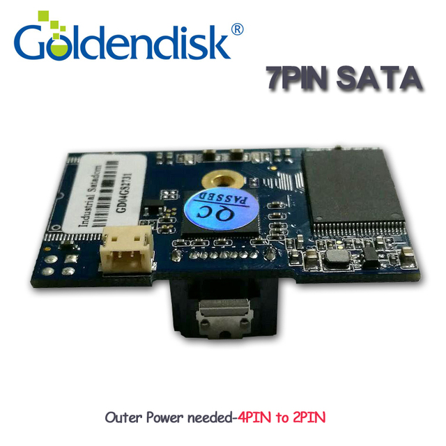 Goldendisk 7PIN SATA DOM 4GB 2 Locataion holes Disk on Module 3 Years warranty support multi capacity up to 64GB