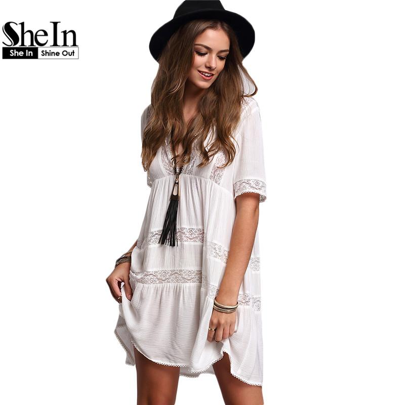 SheIn Womens V-neck Lace Insert Ruffle Dresses 2016 Summer Casual Plain White Short Sleeve Vintage Shift Loose Dress(China (Mainland))