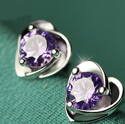 Fashion 1 Pair Women Lady Girls Elegant silver plated Ear Stud Earrings Heart Purple/Silver Chic Gift HOT Jewelry(China (Mainland))