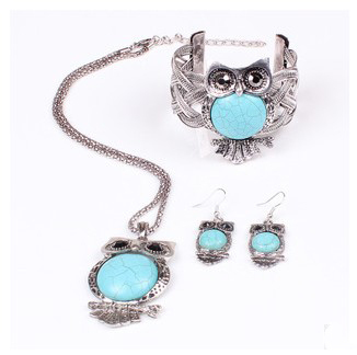 2015 Ethnic Owl Silver Turquoise Necklace Earrings Tribal Bib Chunky Vintage Statement Collar Choker Necklaces Pendant Women(China (Mainland))