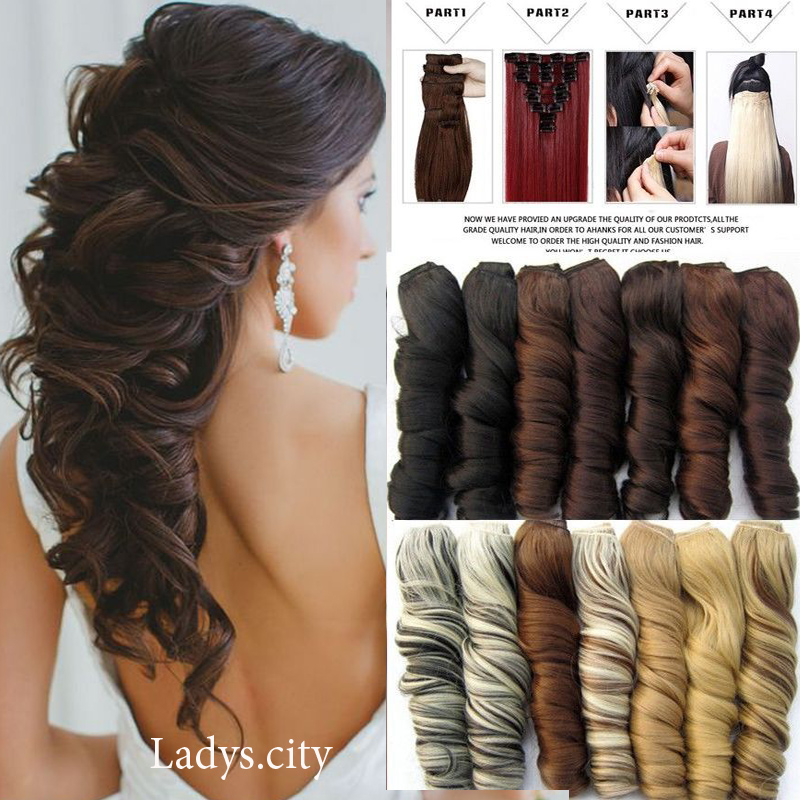 Mega Thick 24 Inch 60CM Real Natural Hair Extention 3/4 Full Head Clip in Hair Extensions Curly/Wavy New Mix Color Fast ship(China (Mainland))