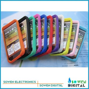 Silicon Rubber Case cover protective casing for HTC One V ,10pcs/lot best quality +Free shipping