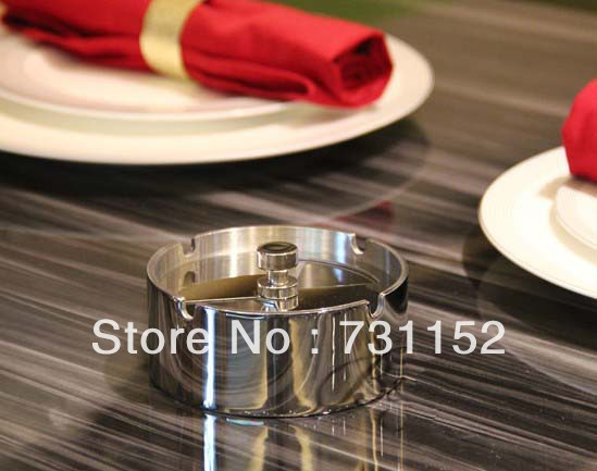 Home bar club super thick stainles steel cigarette ash holder with rotatable lid -2pcs/lot(China (Mainland))