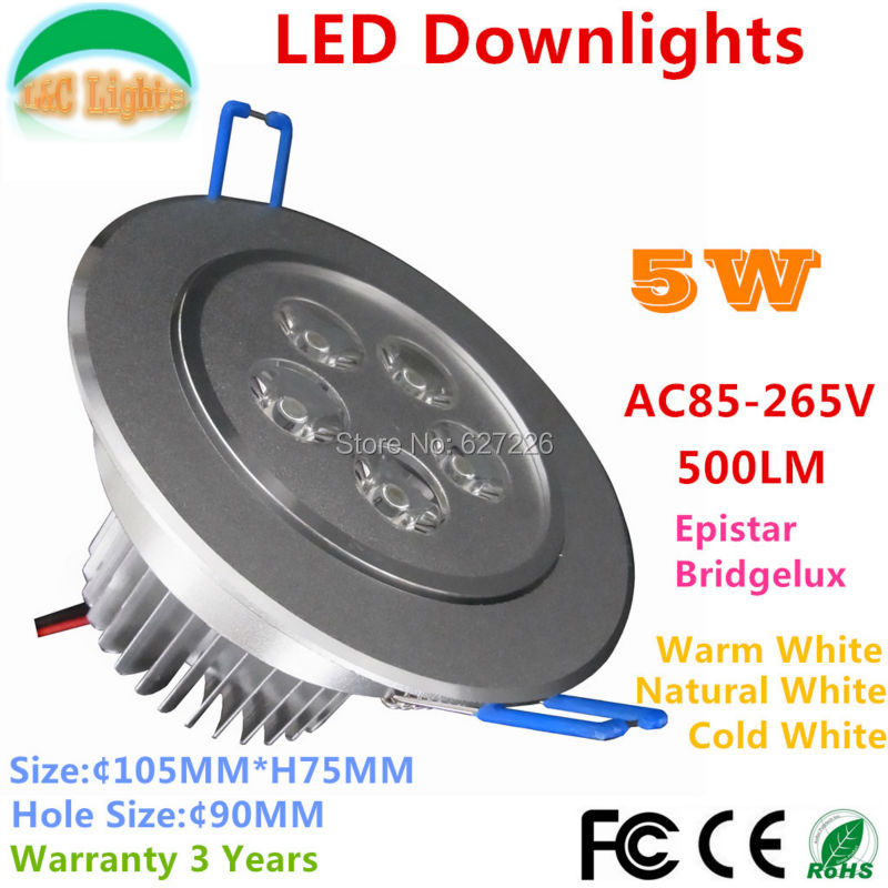 Free Shipping!5W LED Ceiling,85-265V 500LM LED Restaurant Light,CE RoHS LED Energy Savin