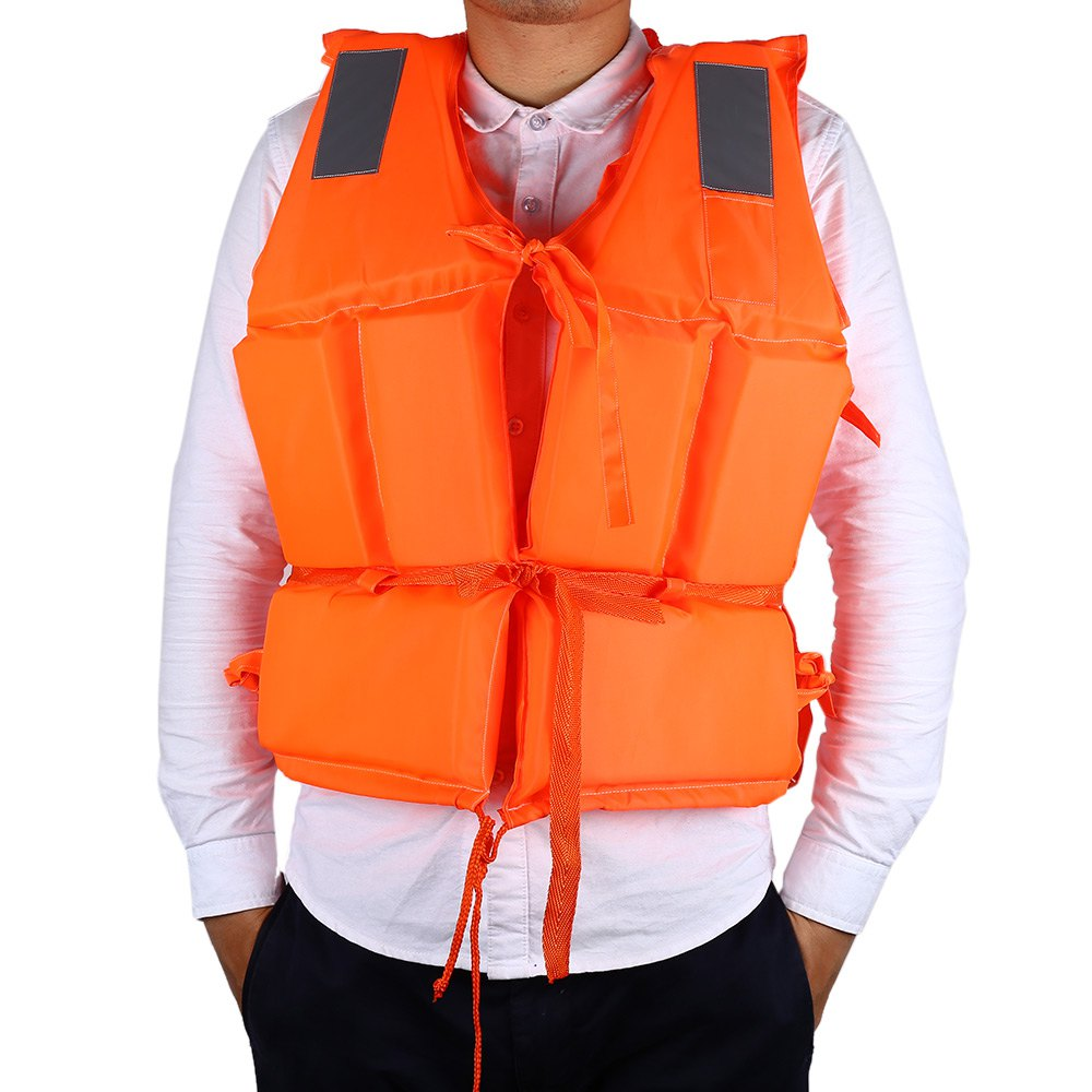 Professional Waterproof Life Vest Orange Adult Jacket Life Vest with Whistle for Boat Surfing with Reflective Strips(China (Mainland))