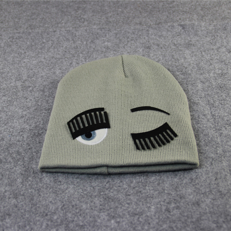 Fashion Blinking Pattern Beanies Knitted Hats For Women Thick Winter Knit Hat Sweater Soft Caps Elastic Casual Headdress H012(China (Mainland))