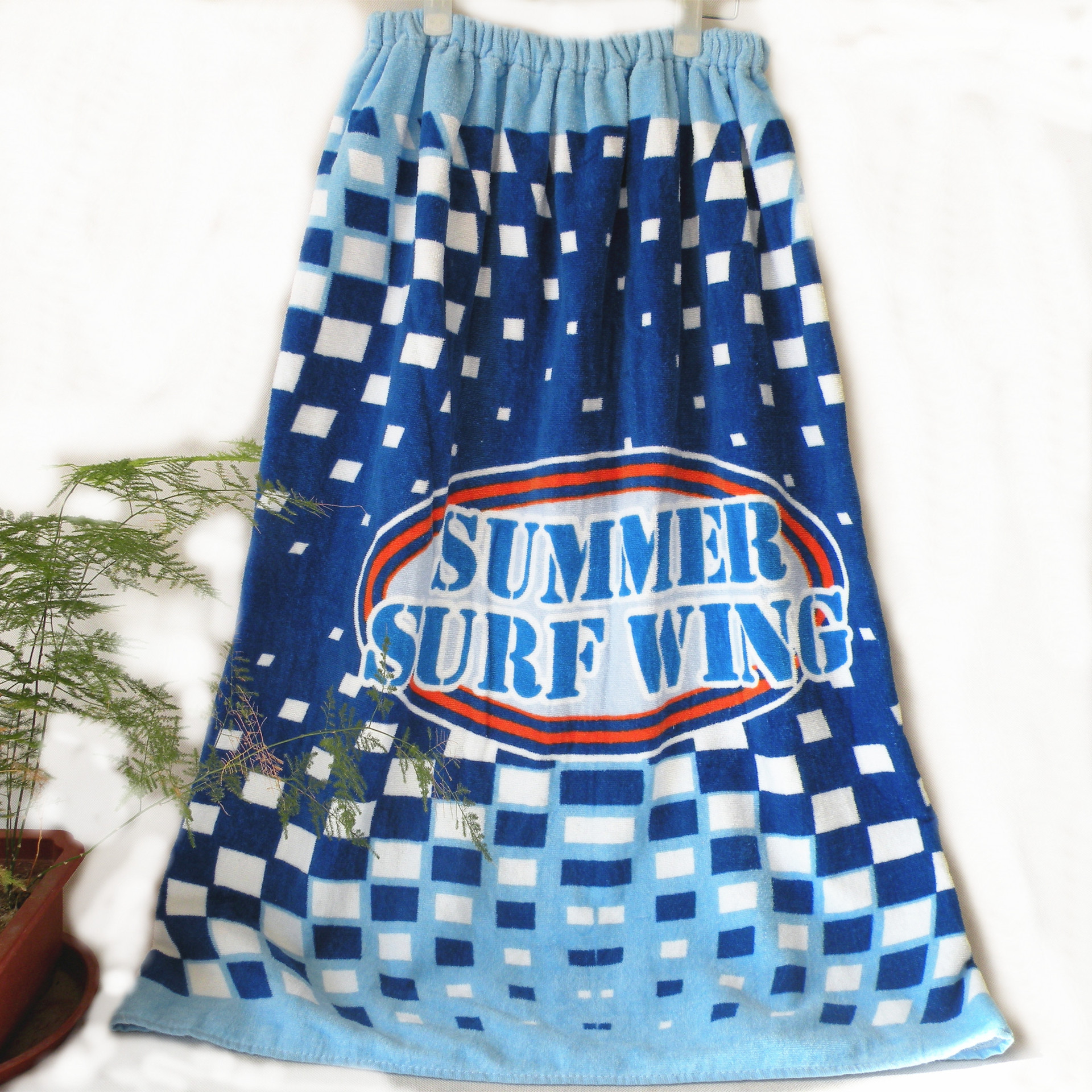 FREE SHIPPING Vosges towel factory wholesale summer surf wing blue box men's Cotton Bath skirt Cotton Apron(China (Mainland))