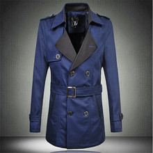 Men Trench Coats Medium-long Double Breasted Slim Fit Plus Size Windbreaker Brand Fashion Casual Business Cotton Overcoats D1847(China (Mainland))