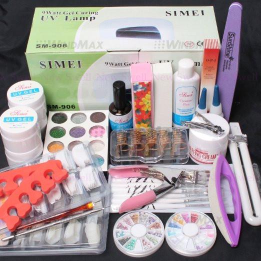Nail Kit 25 in 1 Combo Set  DIY UV Gel Nail Art Kit 9W Lamp Dryer Brush Buffer Nail Tool Tips Glue Acrylic Set<br><br>Aliexpress